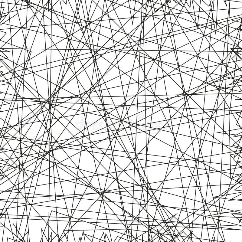 与任意混乱线的不对称的纹理,抽象几何样式 设计元素的黑白传染媒介例证 库存例证