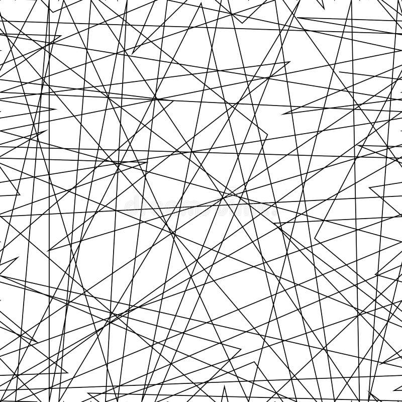 与任意混乱线的不对称的纹理,抽象几何样式 黑白传染媒介例证  库存例证
