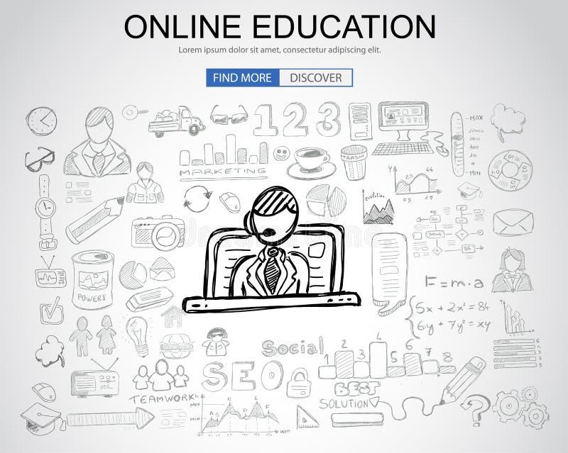与企业乱画设计样式的网上教育概念:onli 库存例证
