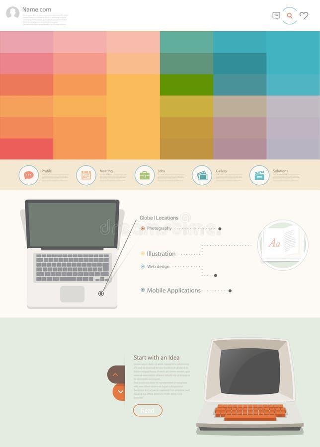 与企业例证的平的网站设计模板 向量例证