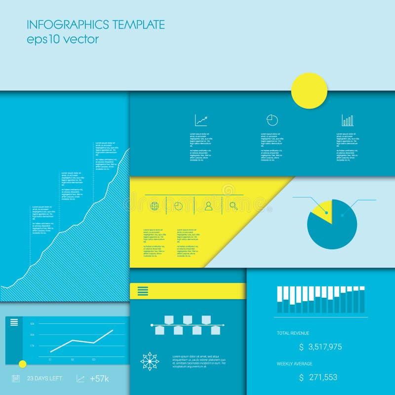 与企业图表和图的Infographics模板,数据显示的其他元素或项目时间安排 皇族释放例证