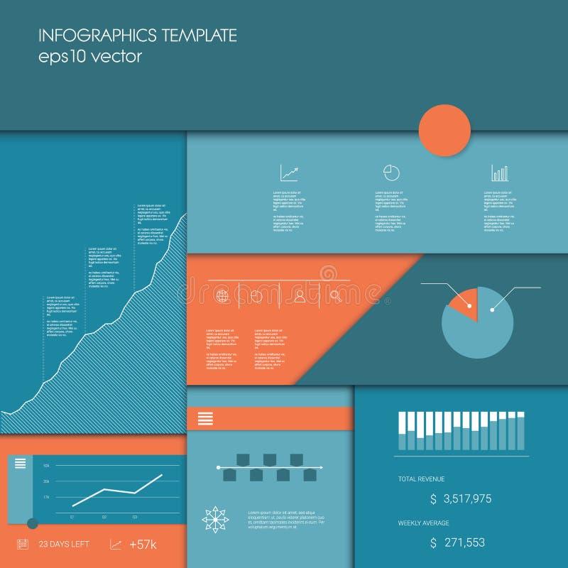 与企业图表和图的Infographics模板,数据显示的其他元素或项目时间安排 库存例证