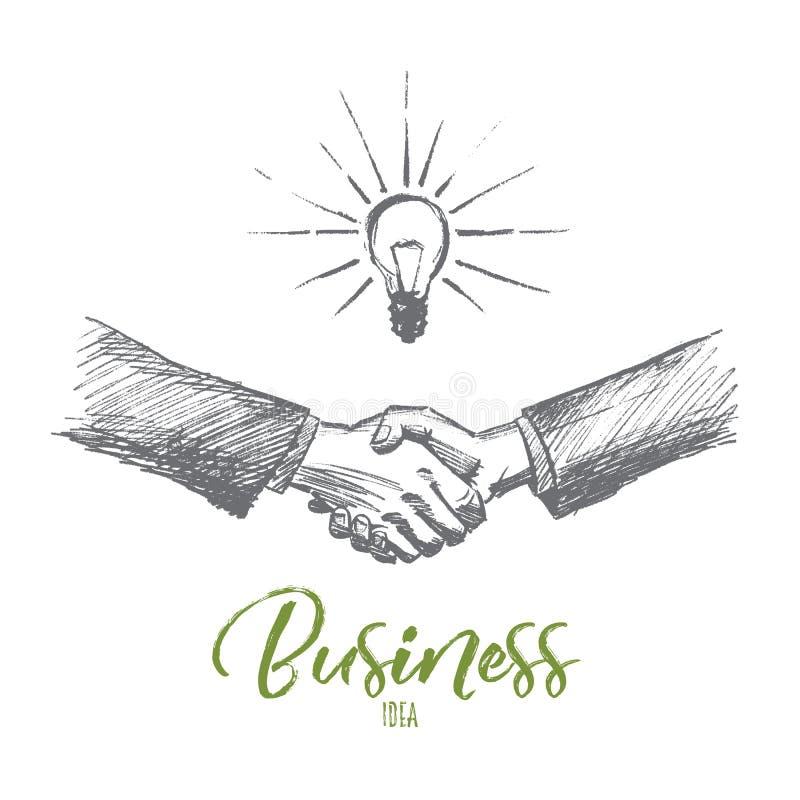 与企业想法在上写字的手拉的握手 向量例证