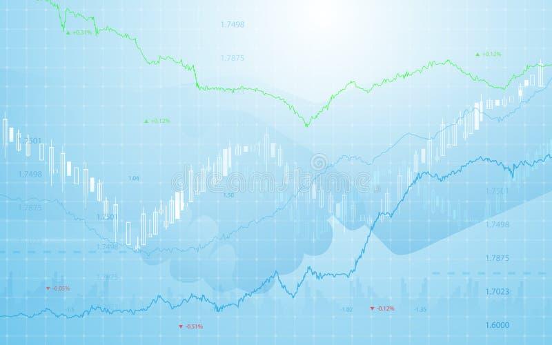 与企业手震动的股市图在蓝色背景中 向量例证