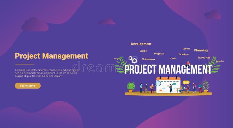 与企业日历和队人的项目管理概念网站模板着陆主页横幅的-传染媒介 向量例证
