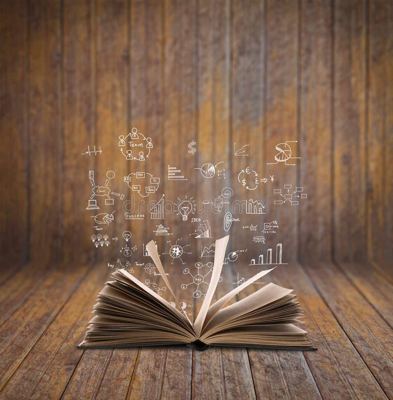 与企业概念和图表的不可思议的书 免版税库存照片