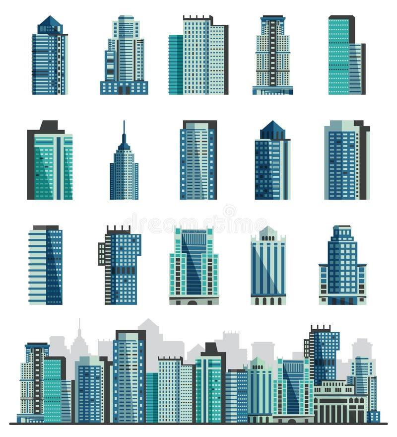 与企业officebuilding的大厦摩天大楼或城市地平线传染媒介集合都市风景商业公司和修造 库存例证