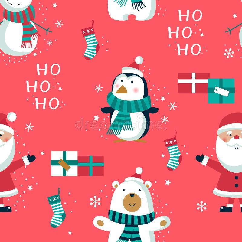 与企鹅和箱子的圣诞节无缝的样式 E 皇族释放例证