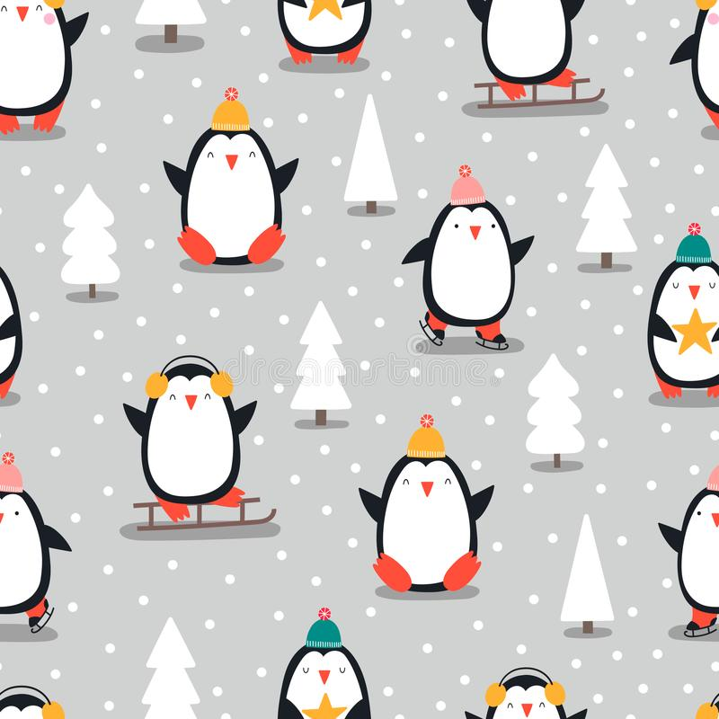 与企鹅的圣诞快乐无缝的样式,  向量例证