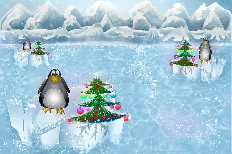 与企鹅的圣诞节在北极 向量例证
