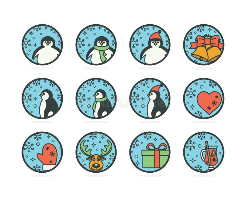 与企鹅的平的样式象在帽子和围巾,鹿,冬天属性 皇族释放例证