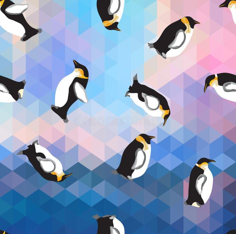 与企鹅的抽象蓝色水晶冰背景 无缝的样式,用途作为表面纹理 向量例证