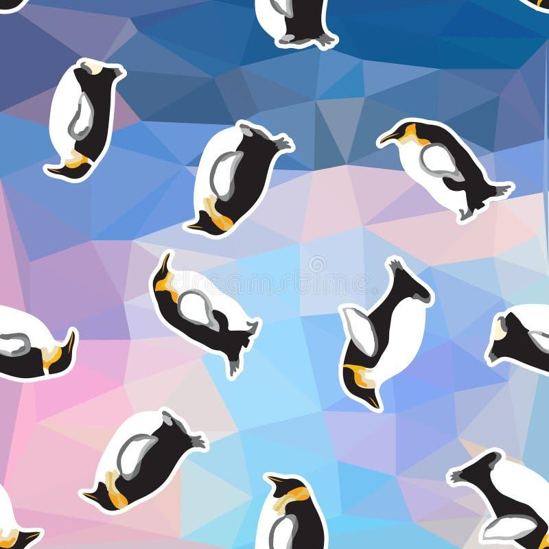 与企鹅的抽象蓝色水晶冰背景 无缝的样式,用途作为表面纹理 皇族释放例证