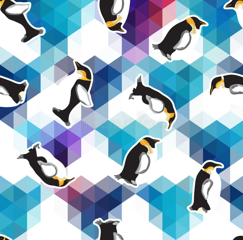 与企鹅的抽象蓝色水晶冰背景 无缝的样式,用途作为表面纹理 库存例证