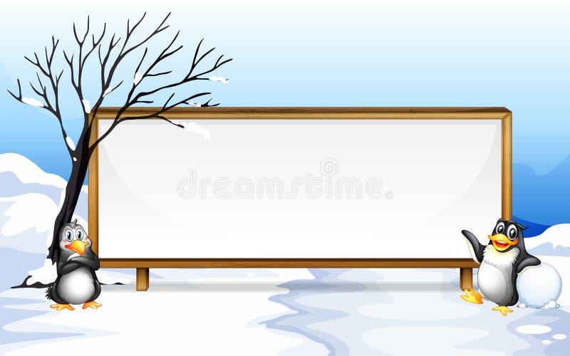 与企鹅的框架设计在雪 向量例证