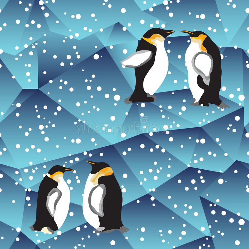 与企鹅的蓝色水晶冰背景纹理 皇族释放例证