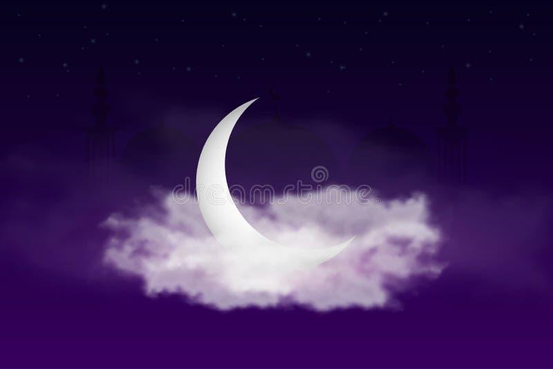 与伊斯兰教的月牙、清真寺和天空的斋月Kareem背景与云彩 圣洁月的横幅的设计斋月Kareem 向量例证