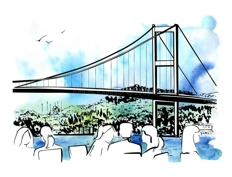 与伊斯坦布尔桥梁的传染媒介手拉的例证 库存例证