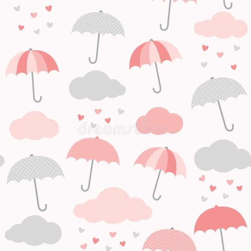 带雨伞、云和心雨的矢量图 情人节无缝背景 女婴淋浴的可爱设计 向量例证