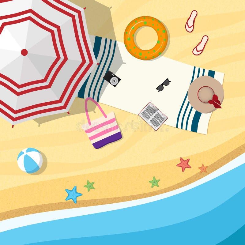 与伞和海滩辅助部件的沙滩 顶视图 向量例证