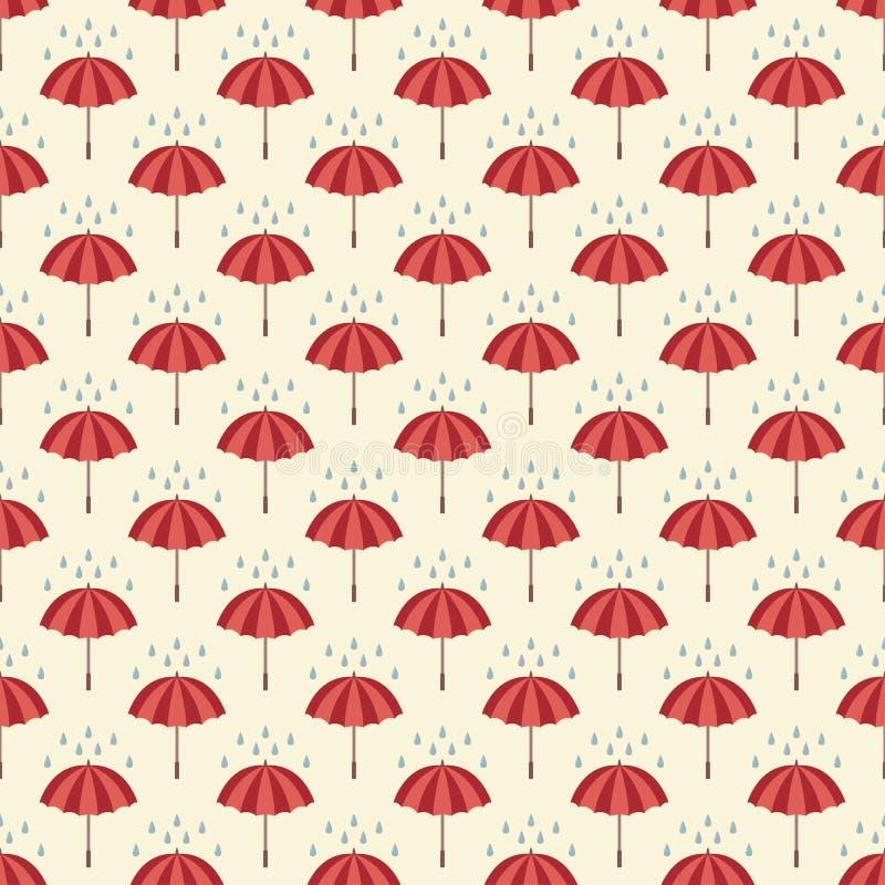 与伞和雨下落的无缝的样式。 向量例证
