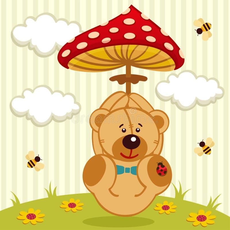 与伞形毒蕈的玩具熊 皇族释放例证