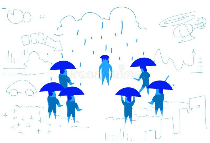 与伞无保护的工友的商人队失望禁止概念水平努力的过程 库存例证