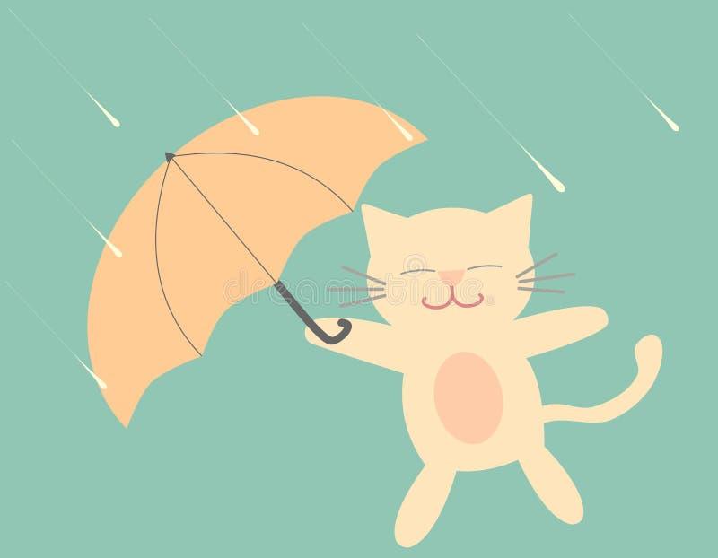 与伞的可爱的动画片猫在雨滑稽的例证 库存例证