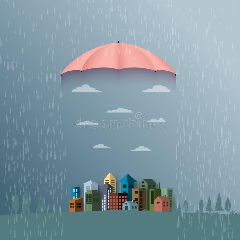 与伞的季风背景保护城市免受雨 平面 向量例证