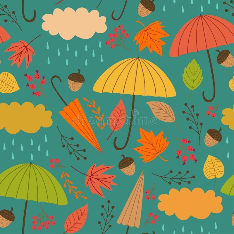 与伞的无缝的秋天样式 库存例证