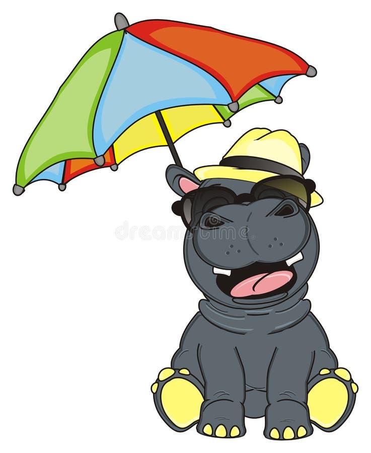 与伞的河马 皇族释放例证