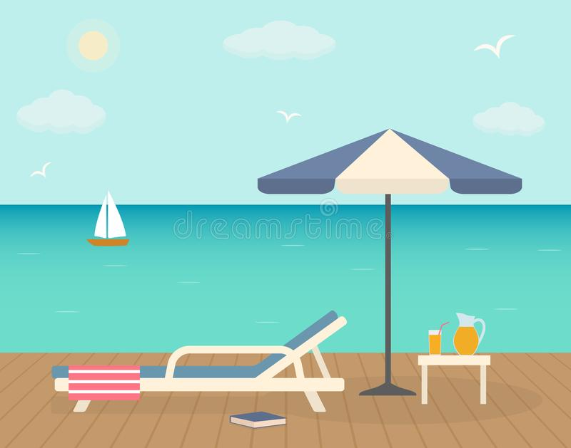 与伞的海滩睡椅在木码头 向量例证