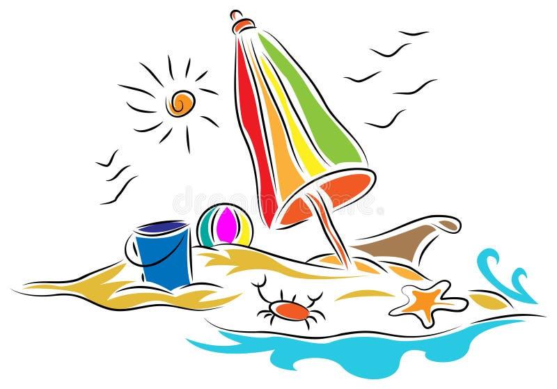 与伞的海滩睡椅 皇族释放例证