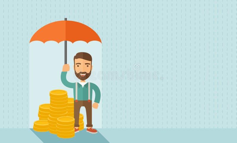 与伞的生意人 向量例证