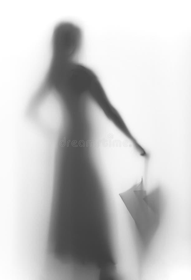 与伞的美丽的妇女剪影 免版税库存照片