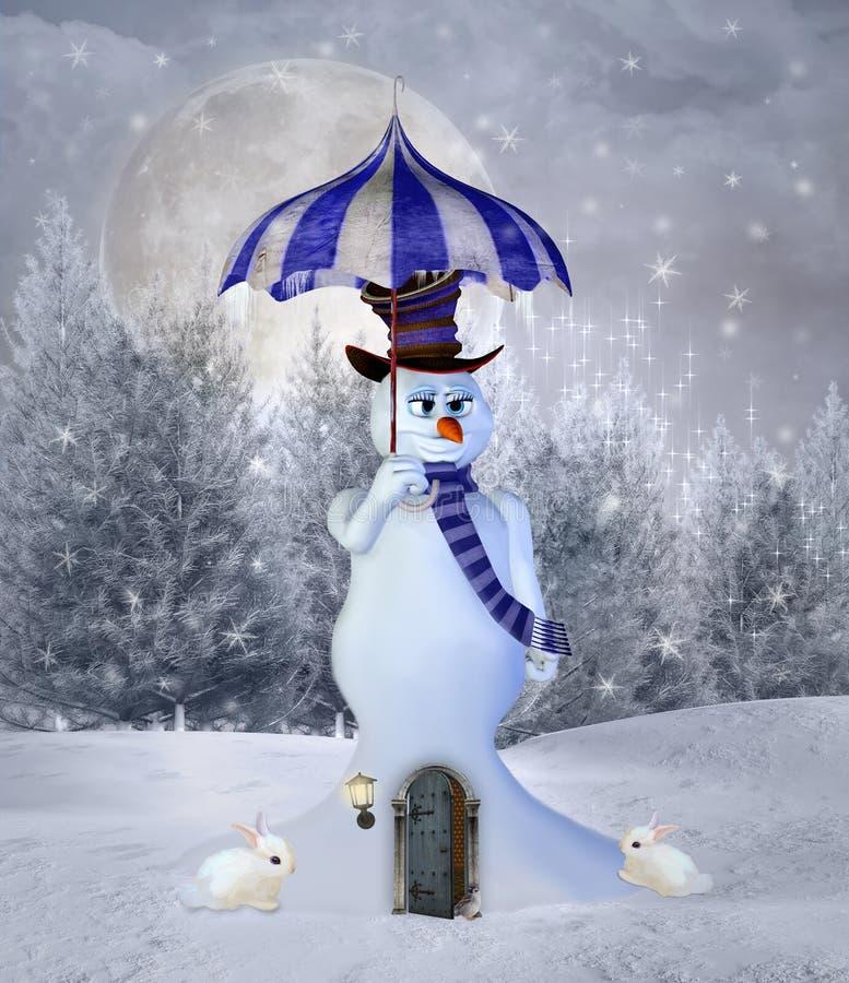 与伞的超现实的雪人 皇族释放例证