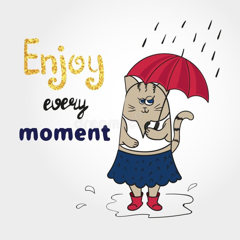 与伞的逗人喜爱的动画片猫 皇族释放例证