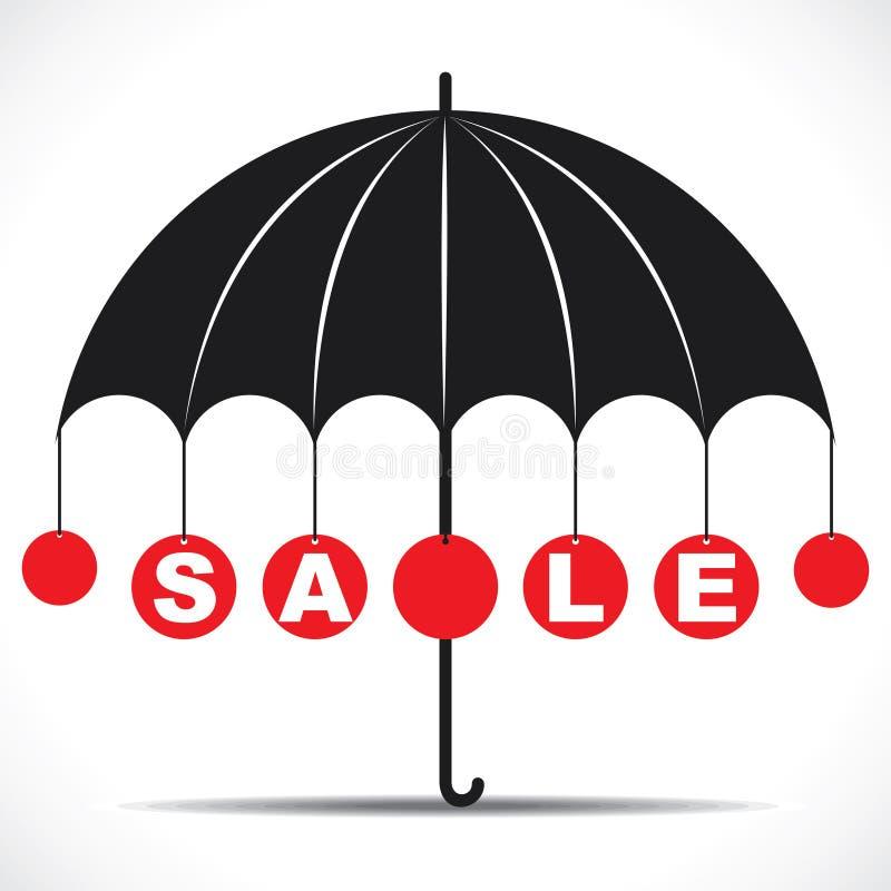 与伞的销售文本 库存例证