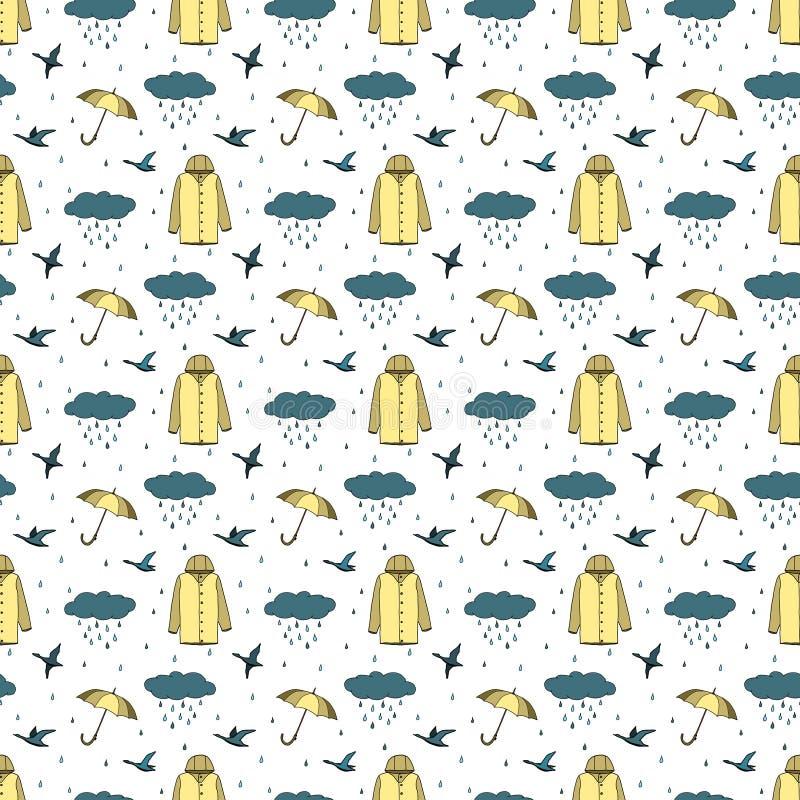 与伞,雨衣,云彩,鸟的秋天无缝的样式 五颜六色的剪影 r 皇族释放例证