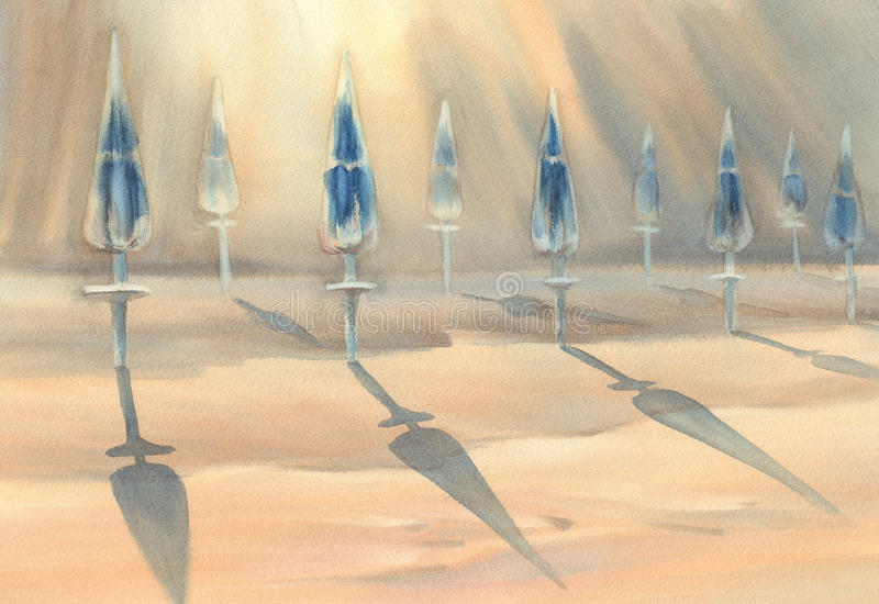 与伞水彩的晴朗的海滩 皇族释放例证
