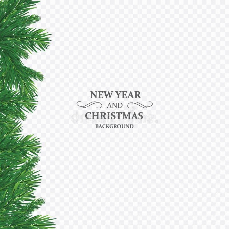 与传染媒介圣诞树的背景分支和文本的空间 现实冷杉木边界,在白色隔绝的框架 向量例证