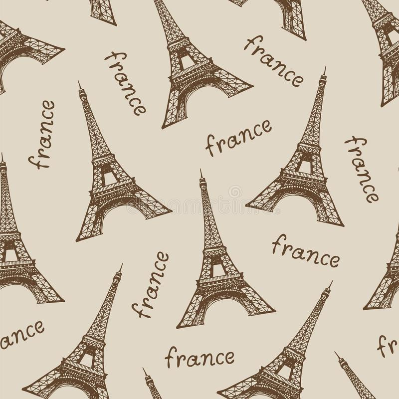 与传染媒介埃菲尔铁塔,巴黎的旅行米黄背景 皇族释放例证