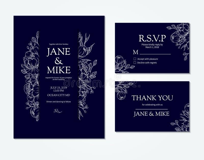 与传染媒介牡丹和玫瑰的深蓝婚礼邀请卡片模板 向量例证