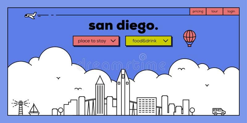 与传染媒介线性地平线的圣迭戈现代网横幅设计 向量例证
