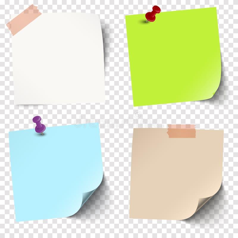 与传染媒介透明度的稠粘的纸收藏 向量例证