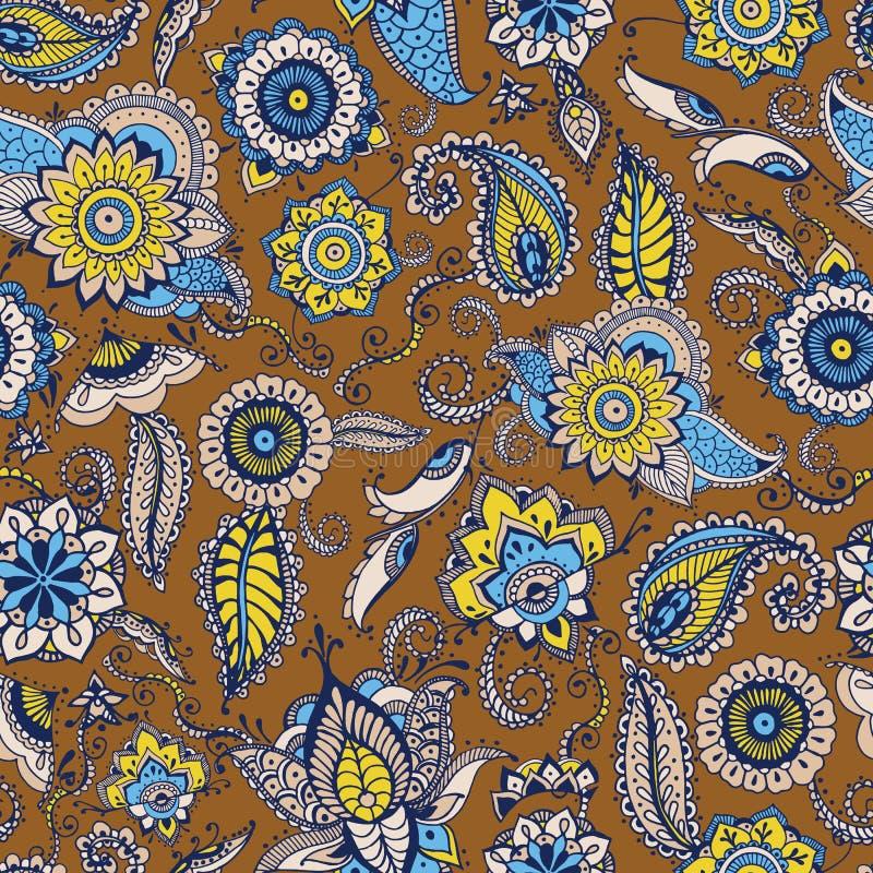 与传统波斯buta主题和mehndi元素的花卉佩兹利无缝的样式在棕色背景 风格化 库存例证