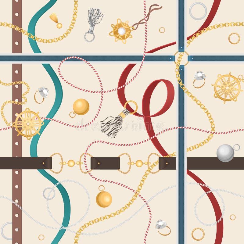 与传送带、金黄链子和圆环的无缝的样式织品设计传染媒介例证的 皇族释放例证
