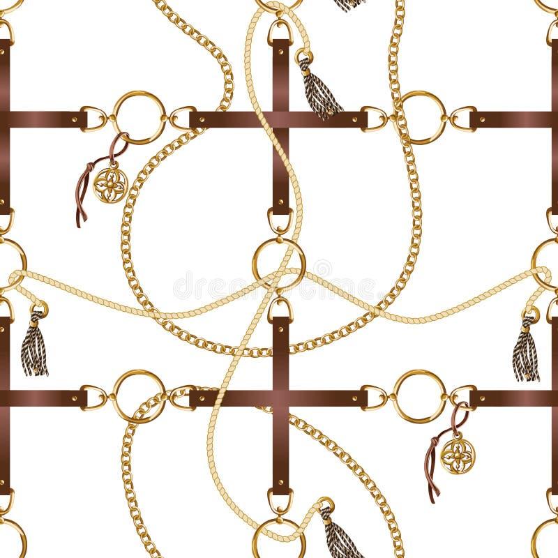 与传送带、链子和辫子的无缝的样式织品设计的 向量 皇族释放例证