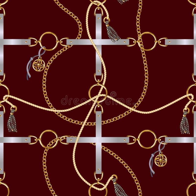 与传送带、链子和辫子的无缝的样式织品设计的 向量 向量例证
