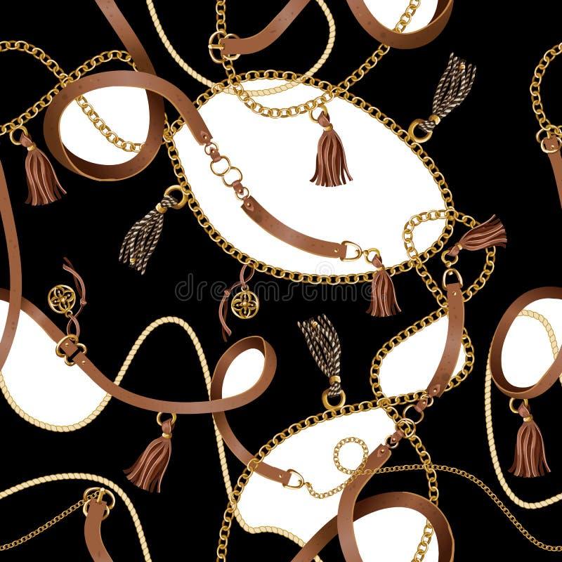 与传送带、链子和辫子的无缝的样式织品设计的 向量 库存例证